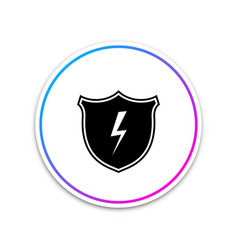 secure shield with lightning icon isolated on vector image