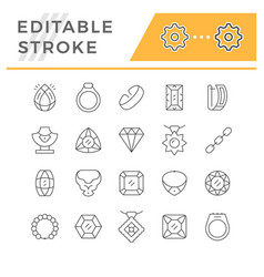 set editable stroke line icons jewelry vector image