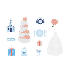 set icons for wedding ceremony planning a vector image