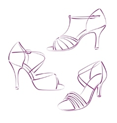 Set of elegant sketched woman s shoes vector image