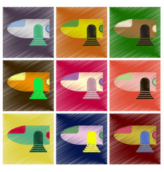 Set of flat icons in shading style airplane nose vector