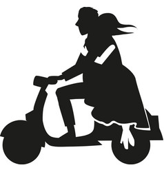 Silhouette couple over a motorcycle vector