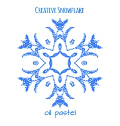 Snowflake hand drawn with oil pastels vector