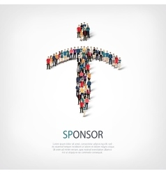 Sponsor people sign 3d vector
