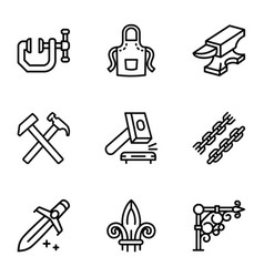 Steel blacksmith object icon set outline style vector