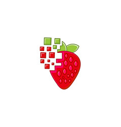 Strawberry digital logo designs inspiration vector