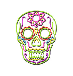 sugar skull neon sign vector image