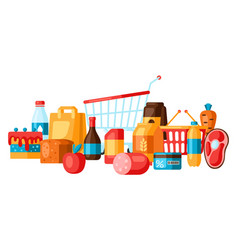 Supermarket background with food icons vector