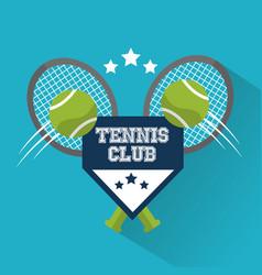 tennis club balls racket sport win design vector image