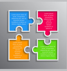 The puzzle infographics jigsaw four steps puzzle vector