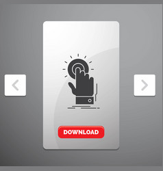 Touch click hand on start glyph icon in carousal vector