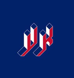 Uk - monogram or logotype isometric 3d font for vector