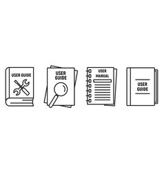 User guide book icons set outline style vector