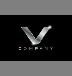 V silver metal letter company design logo vector