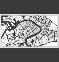 venice italy city map in black and white color in vector image