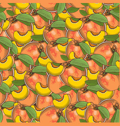 Vintage peach seamless pattern vector