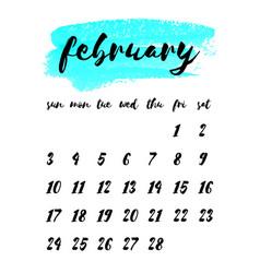 watercolor ink calendar template 2019 year vector image