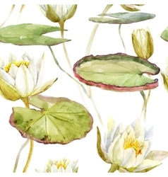 watercolor lotus pattern vector image