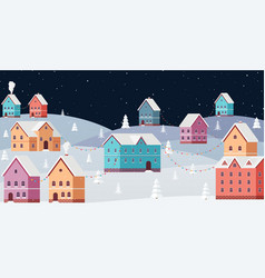 winter cityscape at night with snow falling vector image