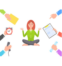 Work circle and meditating young woman poster vector