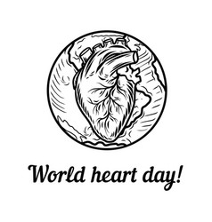 world heart day holiday concept background hand vector image