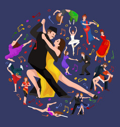 yong couple man and woman dancing tango vector image