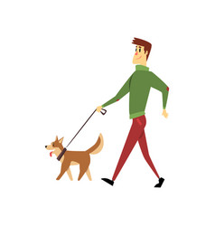 Young man walking with his dogs cute pets with vector