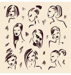 Fashion girl Hand drawn Portrait vector image