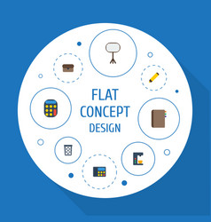 flat icons calculate highlighter board stand vector image vector image