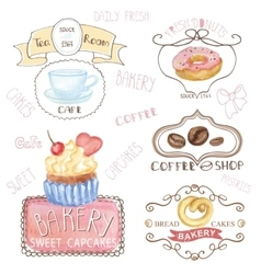 Bakerycafe logosWatercolor sweet cakes caffee vector image vector image