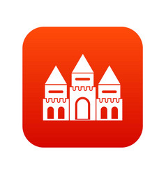 children house castle icon digital red vector image