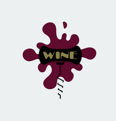 corkscrew icon black corkscrew with burgundy stain vector image vector image