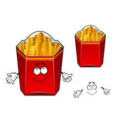 French fries wavy slices cartoon character vector image vector image