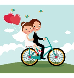 Newlyweds bike vector