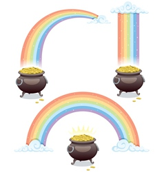 pot and rainbow vector image vector image