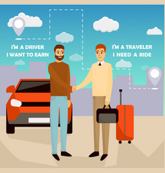 carpooling concept in cartoon vector image vector image