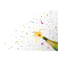 Champagne explosion with ribbon and confetti vector image