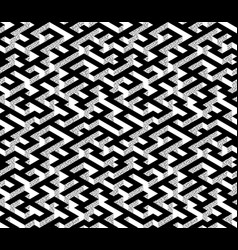 isometric maze with black path and textured white vector image