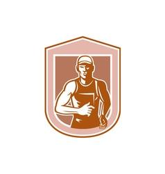 Marathon Runner Running Shield Retro vector image vector image