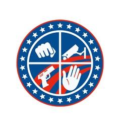 Security CCTV Camera Gun Fist Hand Circle vector image