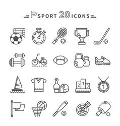 Set of Black Icons Sport Equipment on White vector image