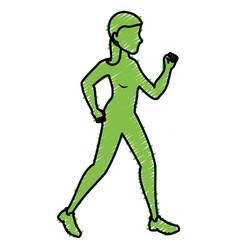 sport woman walking silhouette vector image