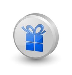 Blue gift icon vector image