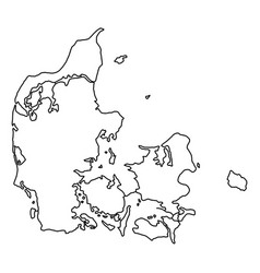 denmark map of black contour curves of vector image