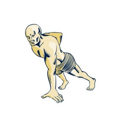High Intensity Interval Training Push-up Etching vector image vector image