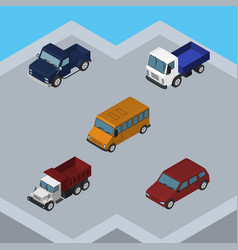Isometric automobile set of freight lorry vector