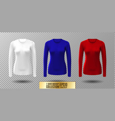 long sleeve blank shirt white red and vector image vector image