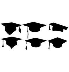 set of different graduation hats vector image vector image