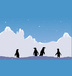 Snow mountain scenery with penguin silhouette vector