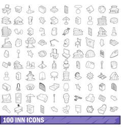 100 inn icons set outline style vector
